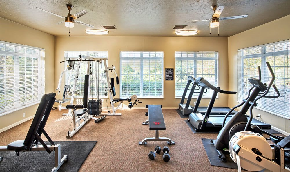 fitness center at Waterford Nevillewood Apartments in Presto, PA
