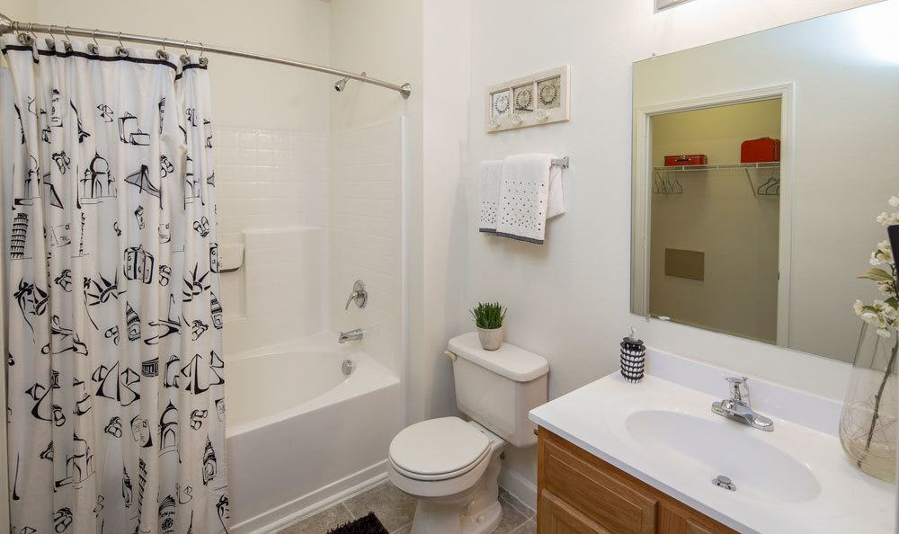 Example bathroom at apartments in Memphis