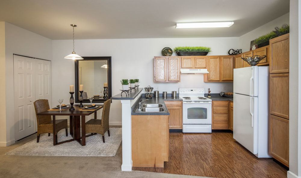 Example dining room and kitchen in our Memphis, TN apartments
