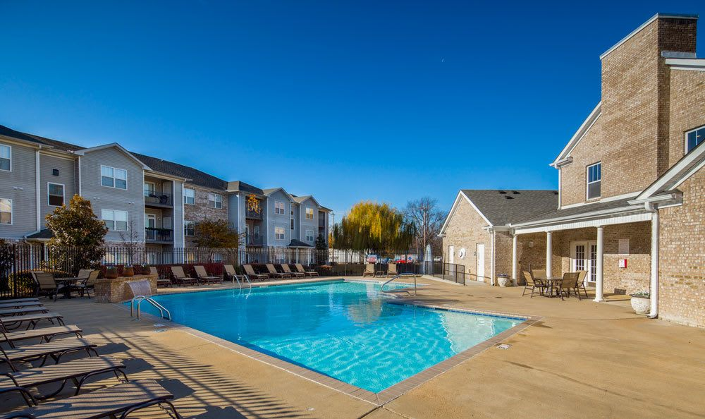 A sparkling pool is just one of the many amenities that Crescent at Wolfchase has to offer