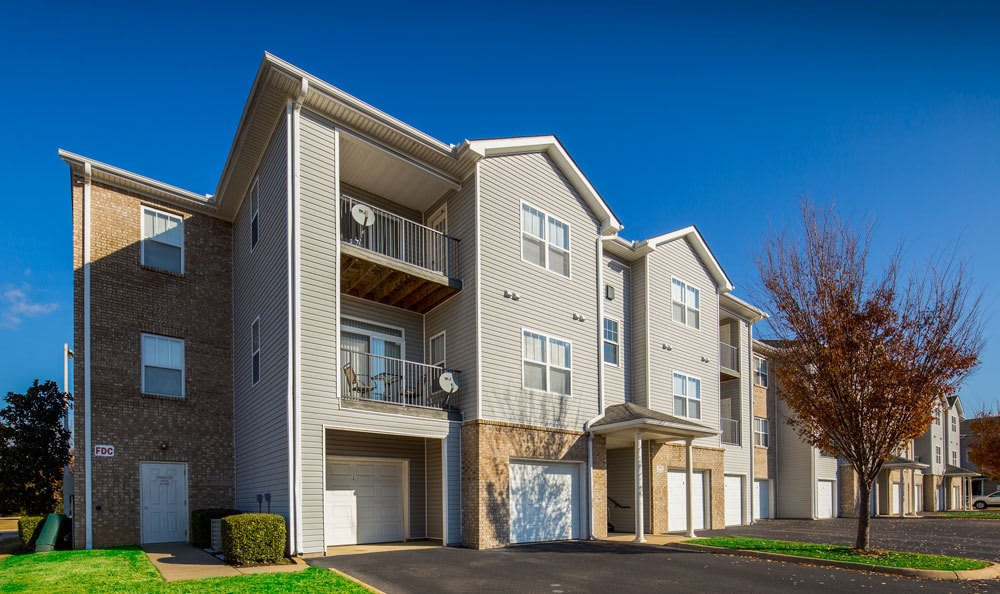 Front of apartments and garages at Crescent at Wolfchase
