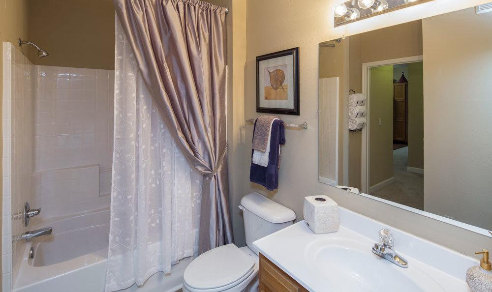Example bathroom at apartments in Huntsville