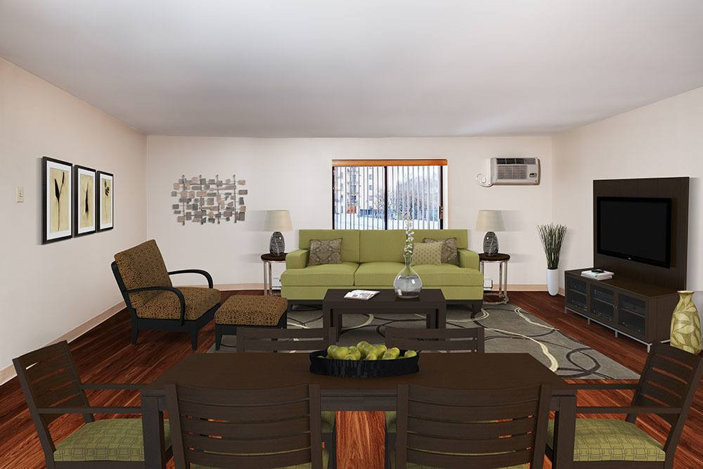 Model Living Room at Maiden Bridge and Canongate Apartments in Pittsburgh