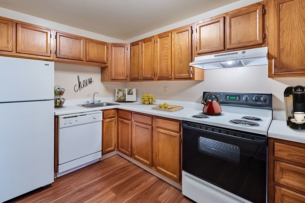 Bright kitchen at Maiden Bridge and Canongate Apartments in Pittsburgh, PA