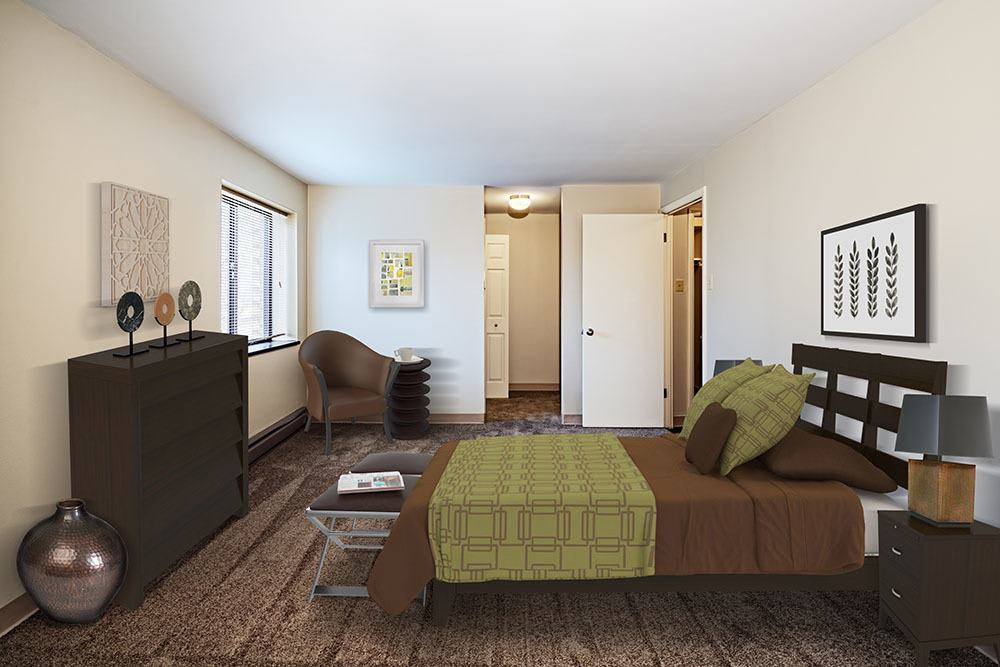 Model bedroom at Maiden Bridge and Canongate Apartments in Pittsburgh, PA