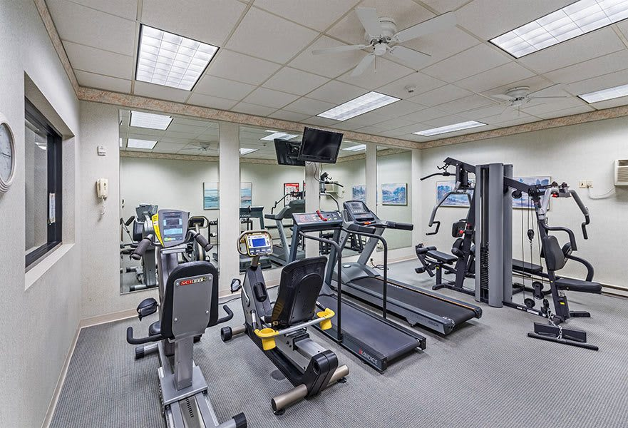 Fitness center at Maiden Bridge and Canongate Apartments