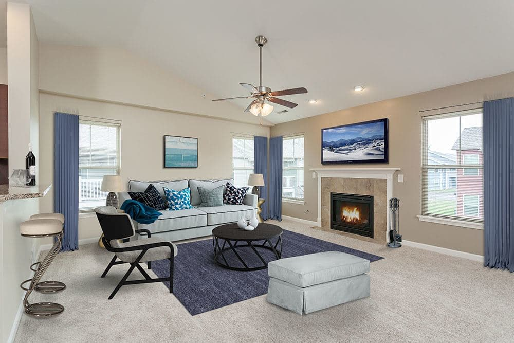 Luxury living room at Saratoga Crossing in Farmington, New York