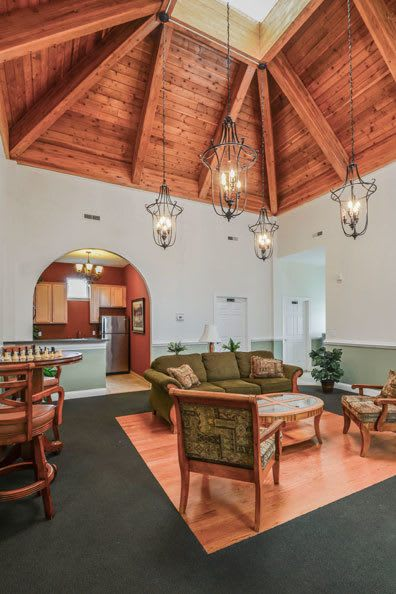 Village of Westover's beautiful clubhouse interior with seating