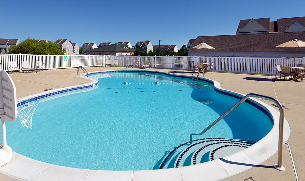 A sparkling pool is just one of the many amenities that Cannon Mills has to offer