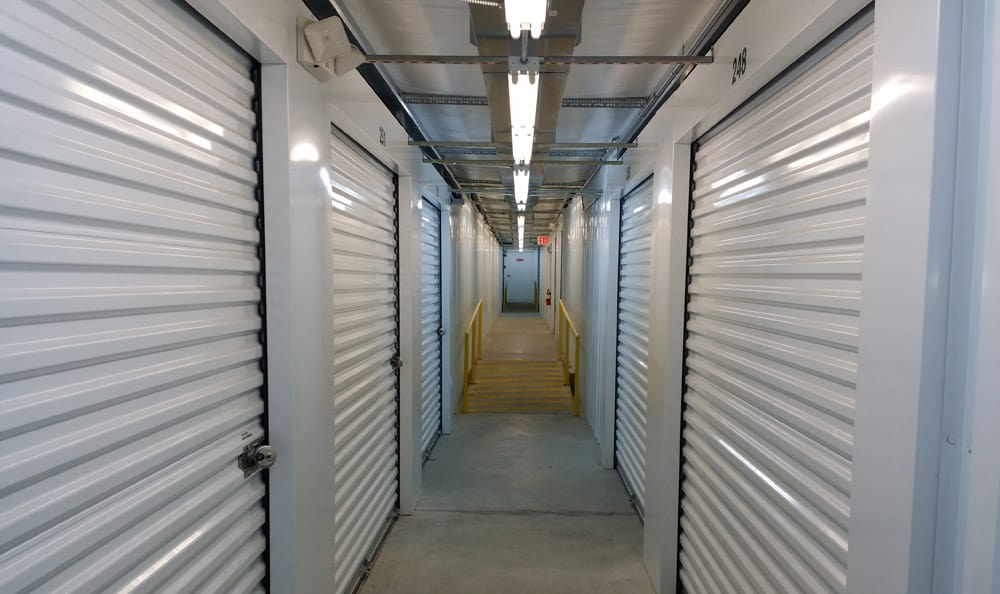 Large indoor storage units at Compass Self Storage