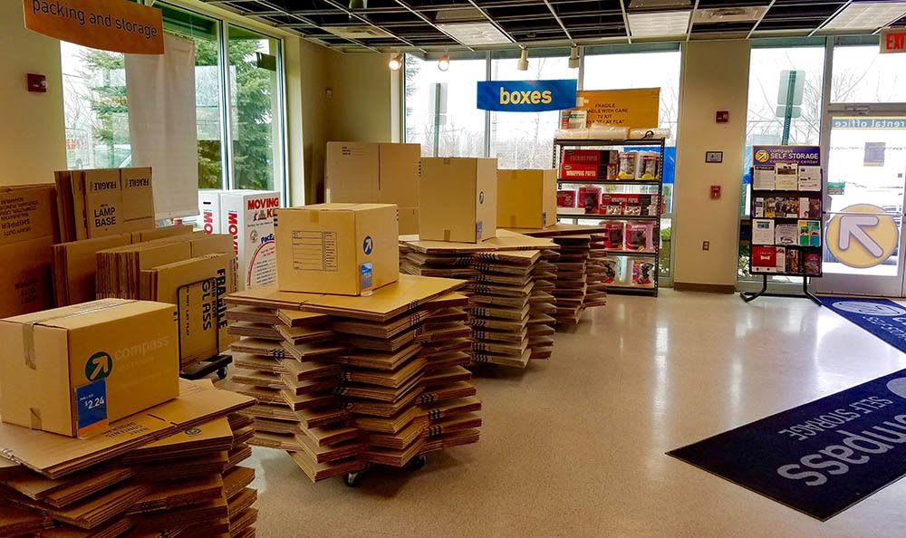 Boxes and supplies at Compass Self Storage in Novi, MI