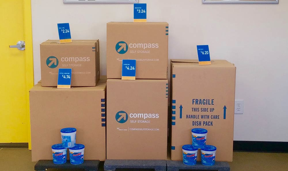 Boxes at Compass Self Storage in East Lansing, MI
