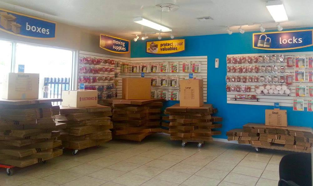 Boxes and supplies at Compass Self Storage in West Palm Beach, Florida