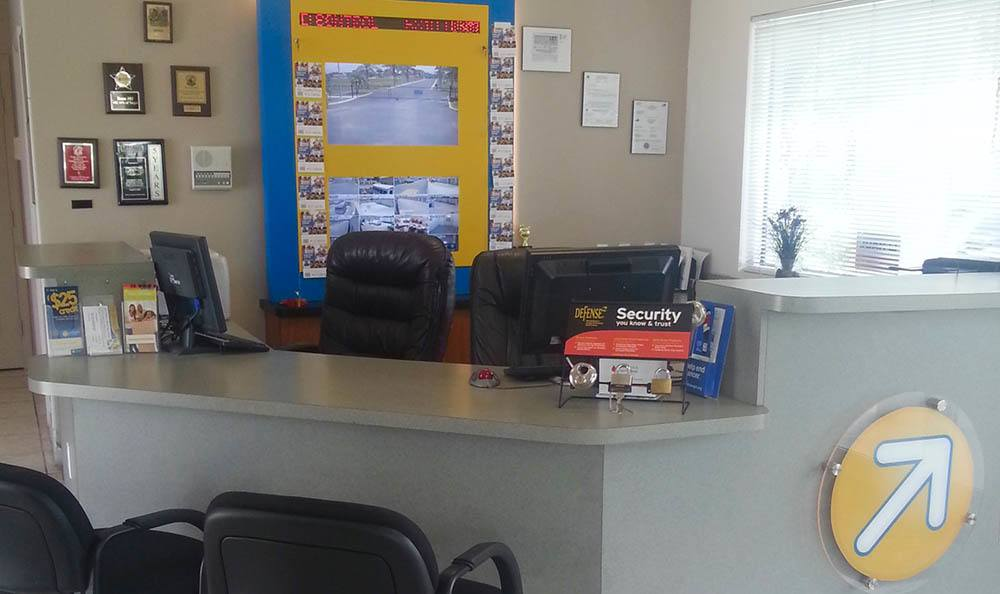 Video survelliance in the leasing office at Compass Self Storage in West Palm Beach, Florida
