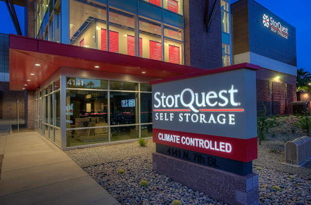 Front entrance sign at StorQuest Self Storage in Phoenix, AZ