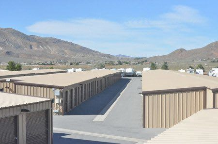 Top view of storage units, RV, and trailer storage