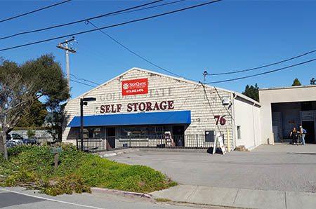 Daytime exterior shot of StorQuest Self Storage in San Rafael