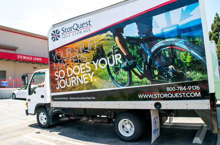 Truck and driver at StorQuest Self Storage in Williston.