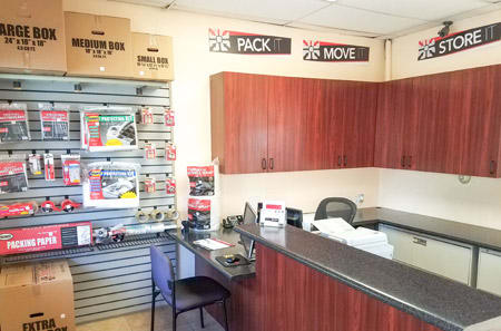 Self storage office interior in Palm Springs