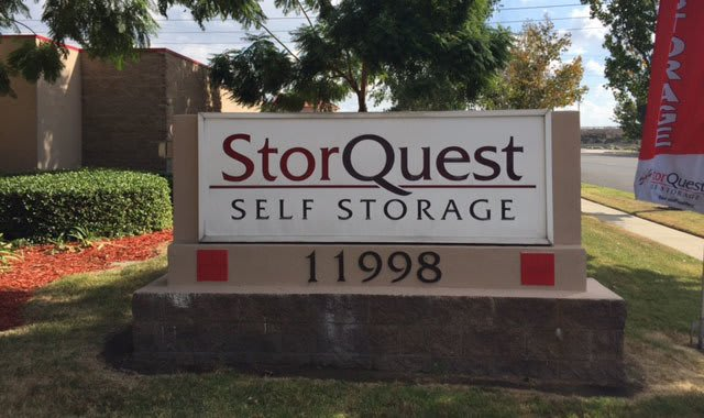 Front sign at StorQuest Self Storage in Rancho Cucamonga