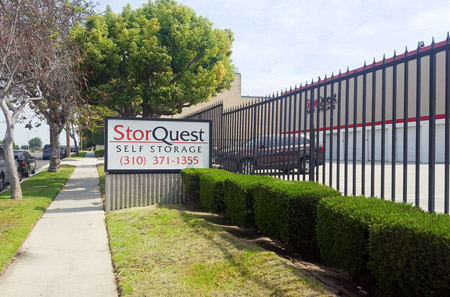 Torrance self storage facility entrance sign