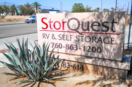 Indio self storage facility entrance sign