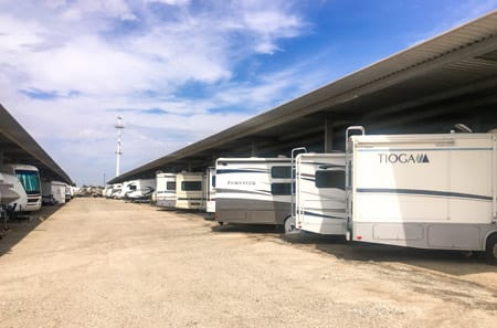 Trailer storage at StorQuest RV and Boat Storage in Moreno Valley, CA
