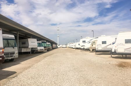 Outdoor RV Storage at StorQuest RV and Boat Storage in Moreno Valley, CA