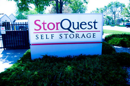 Property sign at StorQuest Self Storage in Aurora, CO