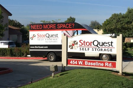 Moving truck and sign at StorQuest Self Storage in Claremont