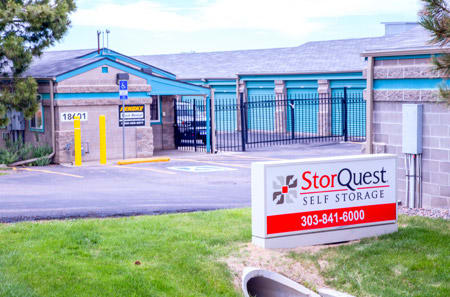 Front sign and entrance at StorQuest Self Storage