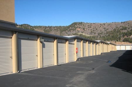 Exterior storage units at StorQuest in Manitou Springs.