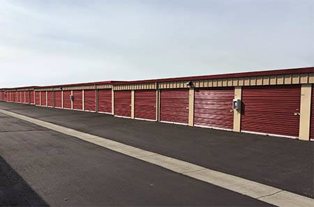 Williston self storage facility exterior units.