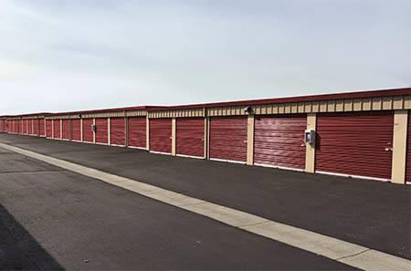 Williston self storage facility exterior units.