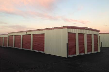 Exterior view of storage units at StorQuest Self Storage in Williston.