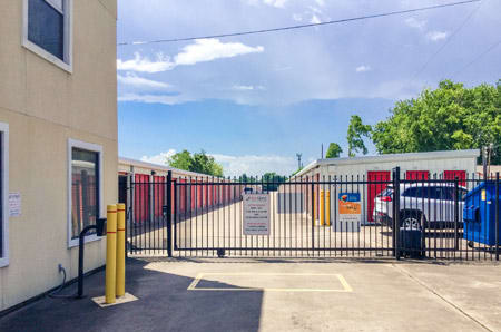 Secure entrance at self-storage in Friendswood, TX