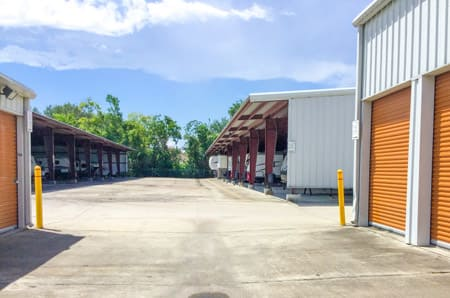 Exterior storage units at StorQuest Self Storage in Friendswood