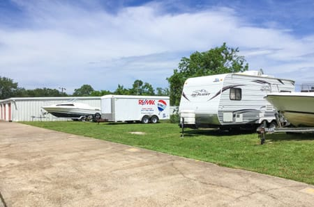 Outdoor RV storage at StorQuest Self Storage in Friendswood