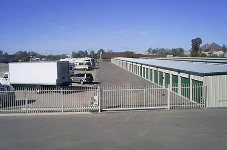 Gated entrance at self storage facility in Tucson