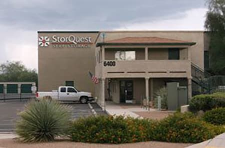 StorQuest Self Storage exterior office view in Tucson.