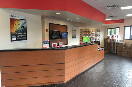 Front desk in lobby area at StorQuest Self Storage in Reno
