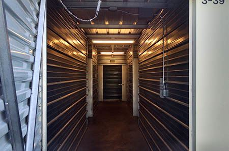 Interior view of storage units at StorQuest Self Storage