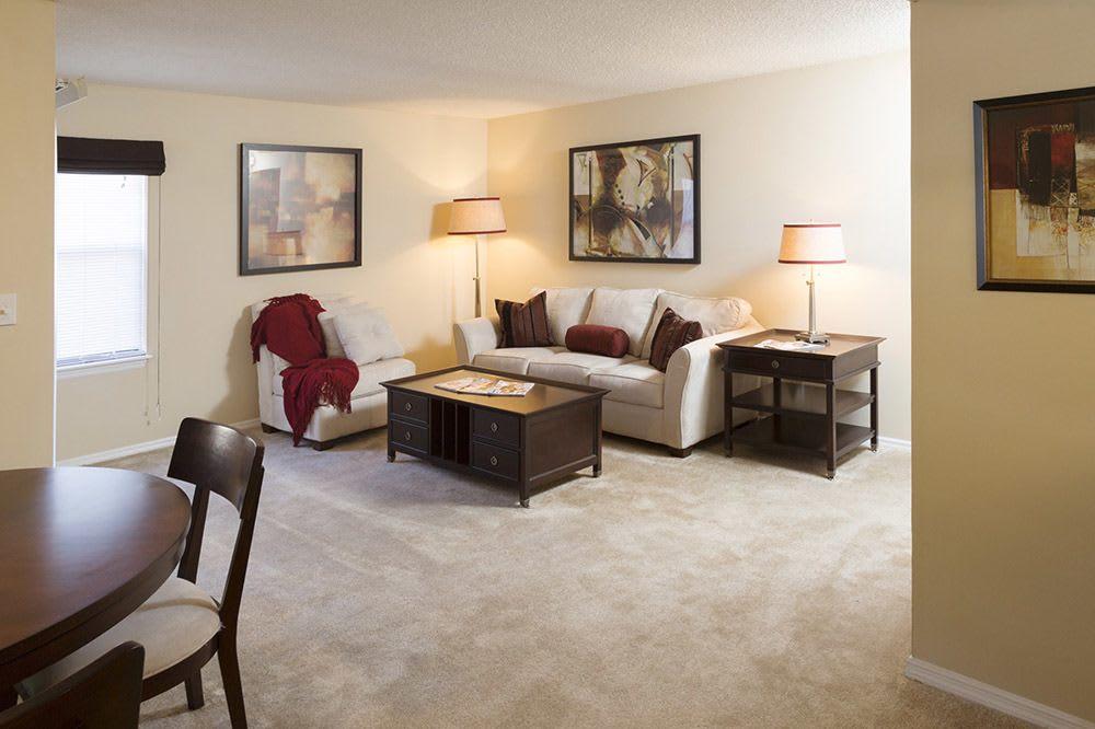 Model living room at Jasmine Woodlands in Smyrna, Georgia