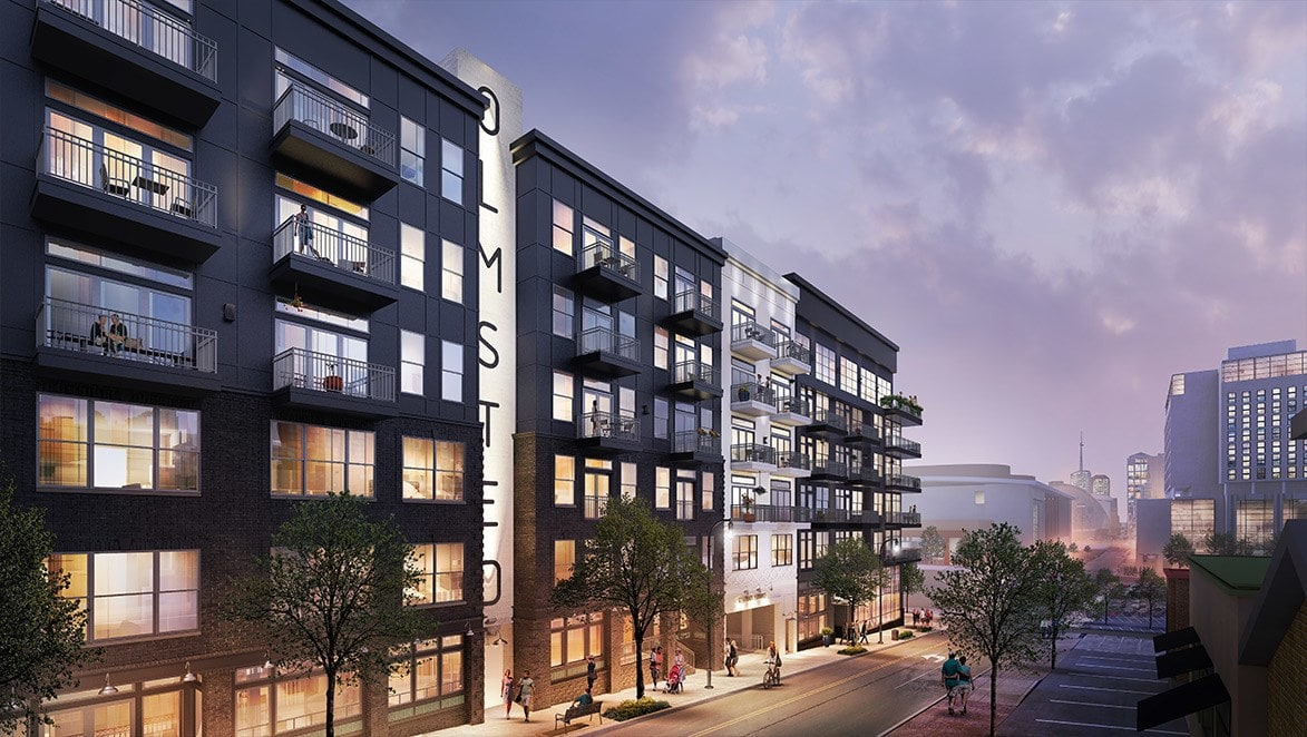 Rendering showing street of newly renovated apartments in Nashville, Tennessee