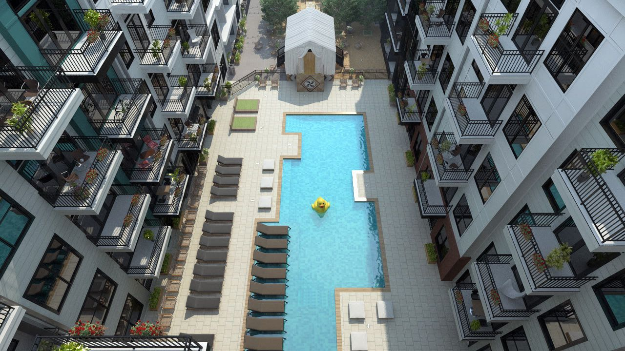 Rendering of pool with patio in courtyard of Olmsted Nashville in Nashville