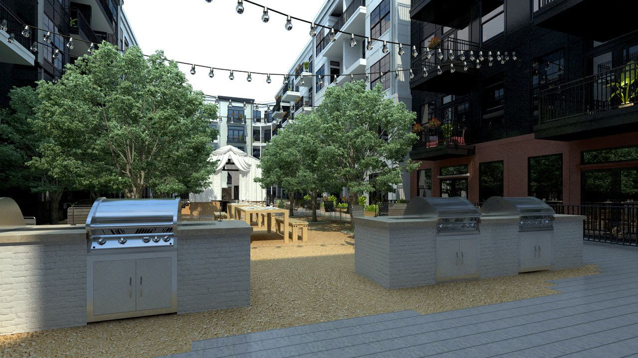 Rendering of courtyard with community BBQ at Olmsted Nashville in Nashville