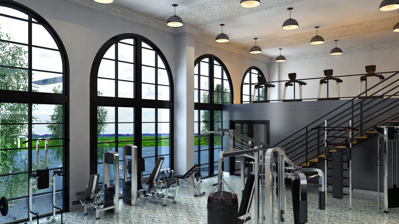 Rendering of the fitness center at Olmsted Nashville showing large windows for plenty of natural light