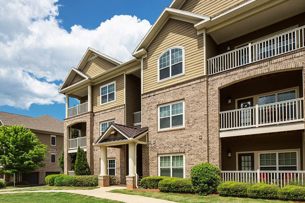 Exterior view of apartments at The Preserve at Greison Trail