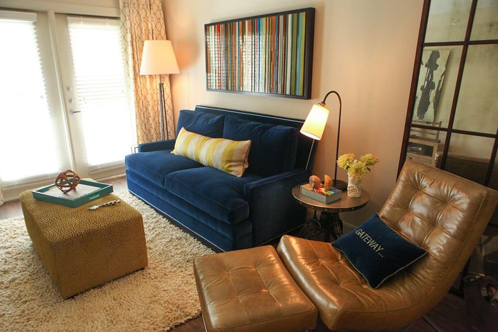 Living room in apartment at The Gateway in Plano, TX