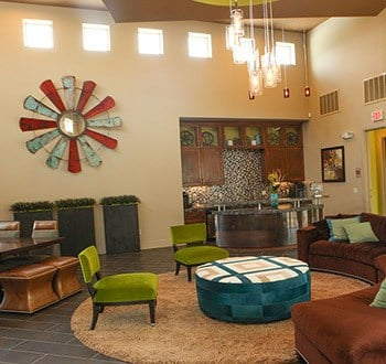 Open and bright resident lounge at our Plano apartments